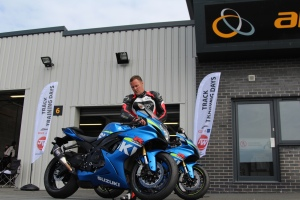 Steve Brogan prepares his bike at one of the James Whitham motorcycle track training days.