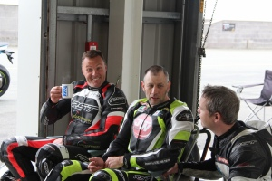 Steve Brogan enjoys a break with fellow coaches James Whitham and Paul Drinkwater.
