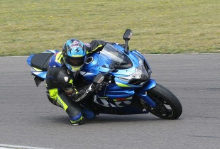 Davo Johnson on the track at a James Whitham motorbike track training day.