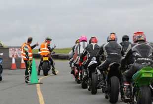 Riders prepare to set off at the Anglesey circuit.