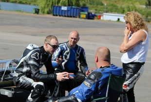 Dan Linfoot gives instruction at one of his James Whitham motorcycle track training day events.