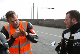 James Whitham gives instruction at one of his James Whitham motorcycle track training day events.