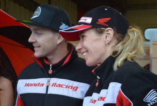 Jenny Tinmouth with fellow motorbike track training day coach Dan Linfoot.